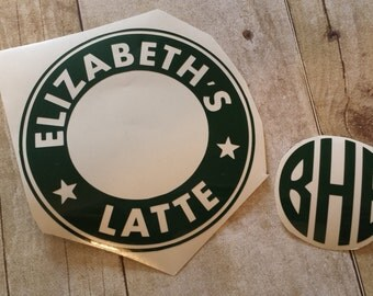 Personalize Your Own Starbucks Reusable Coffee Tumbler / OPTIONAL Monogram Vinyl / Starbuck Coffee Cup Sticker Only