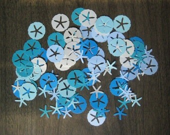 Reclaimed paper confetti sand dollars and starfish - almond mix