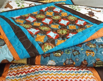 Baby Boy  Owl Quilt Modern Patchwork Hooty Hoot Returns  Owl  Monkey Koala Bear Brown  Blue Orange Yellow Blue Baby Quilt