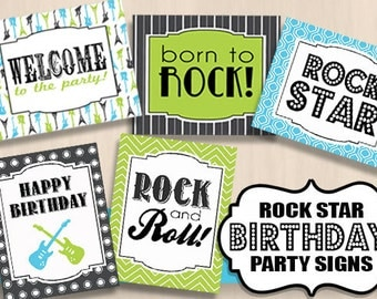 8X10 PARTY SIGNS for Guitar Birthday Party in Turquoise Aqua Blue and Lime Green- Instant Printable Download