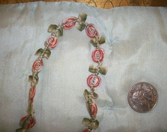 """18"""" of this ribbon work  1920s garland in beautiful shades"""