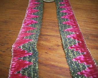 1 yard of antique gold/magenta silk and metal trim authentic 1910s