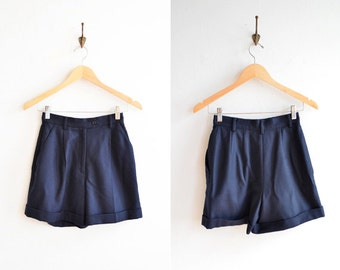 Vintage 1990s navy blue wool shorts