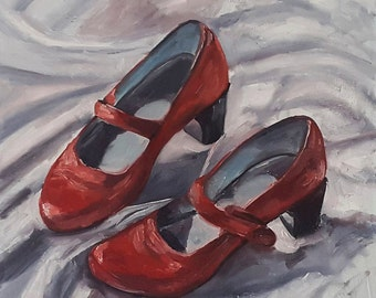 Red Shoes Painting - Red Shoes Original Painting - Dutch Oil Painting - Netherlands Red Shoes Painting