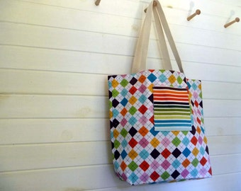tote bag, market tote, reusable bag: argyle & stripes tote