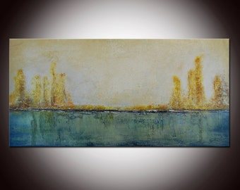 Original Landscape, Emerald Abstract, Large emerald Painting, Original Painting, 48x24 Heavy Textured, Free shipping, Custom painting
