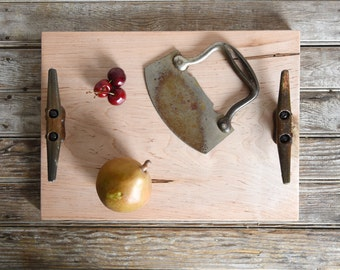 Cutting and Serving Tray, Cheese Board, Cutting Board, Personalized Cutting Board, Reclaimed Wood, Bread Board, Wood Platter, Peg and Awl