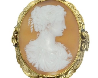 Antique Woman Cameo Brooch Floral Gold Mounting Victorian Brooch c.1850