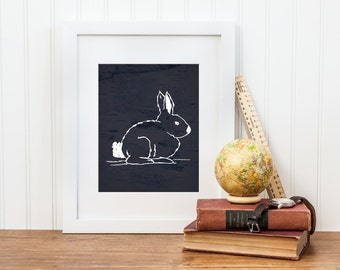Bunny Rabbit Print - Digital Download - Forest Woodland Creatures Series
