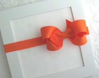 Orange Baby Bow Headband, Newborn Headband, Halloween Headband, Boutique Bow Headband
