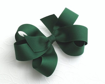 Forest ~ Evergreen Boutique Bow for Girls, Toddler Girl Hair Clips, Cute Loopy Bow for Little Girls, Evergreen Hair Bow, School Uniform Bows