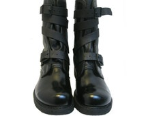 Mens Tanker Combat Boots Corcoran Full Force Footwear Black Leather Double Strap Boots Made In The USA Mns US Size 11 1/2