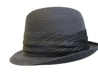 Vintage 1960s Mens Dobbs Straw Stingy Brim Fedora Hat Mns Size 6 7/8 Fits Size Small