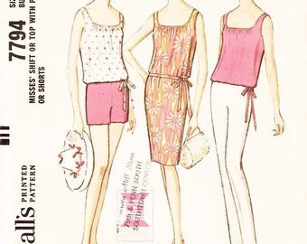 Misses' Shift Dress or Top with Pants or Shorts - SZ 16/Bust 36 - Vintage 1960s Dress Pattern - McCall's 7248