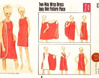 Vintage 1960s Dress Pattern - Butterick 4699 - Misses' Three Armhole Wrap Dress - Easy to Make - Sz Small or 8/10