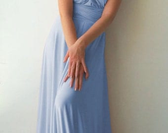 Convertible/Infinity Dress - floor length with long straps baby blue color wrap dress