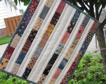 "CIVIL WAR Striped QUILT, 11.75"" x 14.5"", Quilted By Hand, Primitive Colors, Handmade, Traditional, Civil War Inspired Fabrics, Table Quilt"