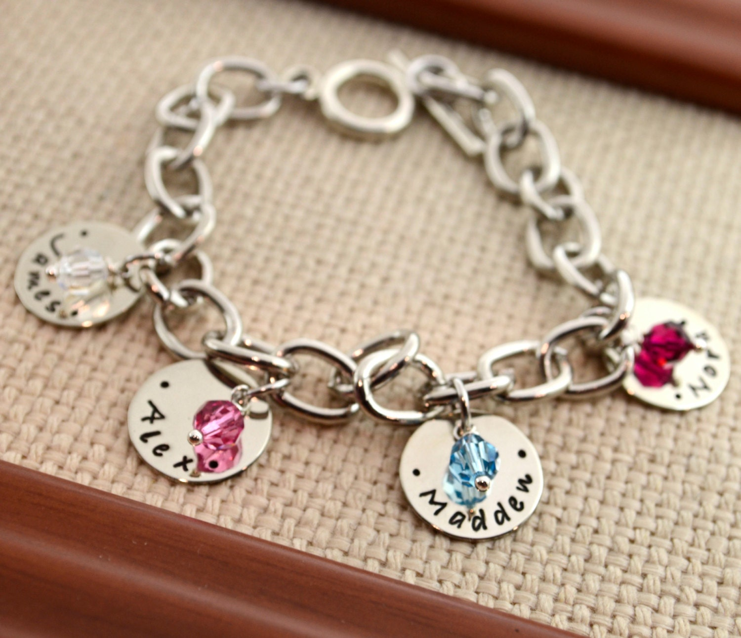 Personalized Link Bracelet with Kids Names Personalized