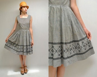 50s Gingham Dress  // Fit and Flare Dress  //   THE ALBERTA