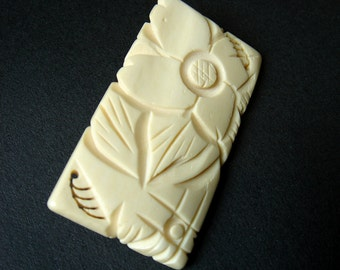 Vintage Ox Bone Hand Carved Floral Brooch Pin