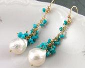 Sleeping beauty turquoise earrings with kasumi like baroque pearls-handmade gold filled OOAK jewelry