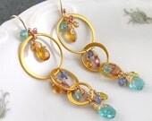 3rd layaway payment for custom order-Pastel gemstone earrings, handmade 24k gold vermeil earrings with tourmaline,