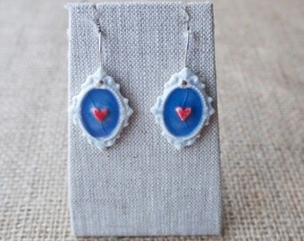 Porcelain Earrings with Lavender Hearts, Ceramic Jewelry by Mrs Peterson Pottery