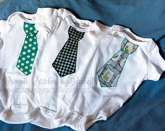 CUSTOM Tie Applique Bodysuit Or T-Shirt - Many Sizes - Applique - Tie Applique - You Choose Fabrics