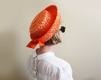 vintage hat 1950's breton orange raffia straw bow summer