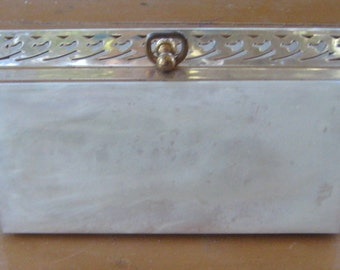 Mad Men White Pearl Lucite Metal Clutch