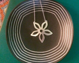 Hand-pierced sterling silver flower necklace