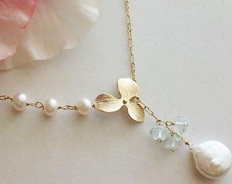 Pearl Necklace, Coin Pearl, Lariat, Gold Lariat, Orchid necklace, Green Amethyst Necklace, Amethyst, Freshwater Pearl, Bridal, Wedding, Mom