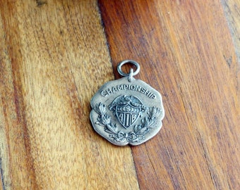 1924 Sterling 70yd Hurdles Medal 2nd Place Chicago AIB - Dieges & Clust