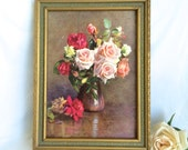 Vintage Floral Painting Print Shabby Chic Tea Roses Cottage Decor framed