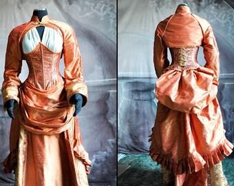 Asian Steampunk Dress Gown Set - Orange Silk (Skirt, Bustle, Corset, Bolero, Blouse, Hat)