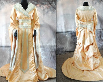 Steampunk Chinese Gown in Yellow and Metallic brocade