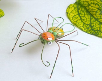 Medium Spider of Whimsey 3 Colorful Flying Spider Ornament Unique Collectible Bug Cute Eyecatching Insect of Nature Enchanting Spider