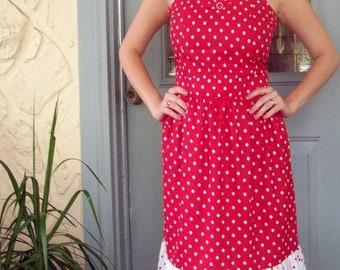 Polka Dot Party Dress -- Red Dot Combo - Red Polka Dots - Ready to Ship