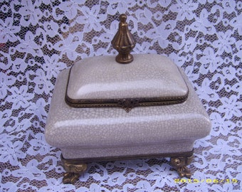SALE-Vintage Antique Signed Ceramic Brass Footed Boudoir Jewelry Trinket Keeper Box