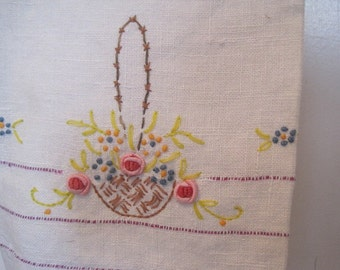 Vintage  Linen Towel Ribbon Art Embroidered Hand Towel Guest Towel FREE SHIP