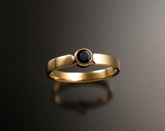 Sapphire Ring 14k Yellow Gold bezel set stone made to order in your size