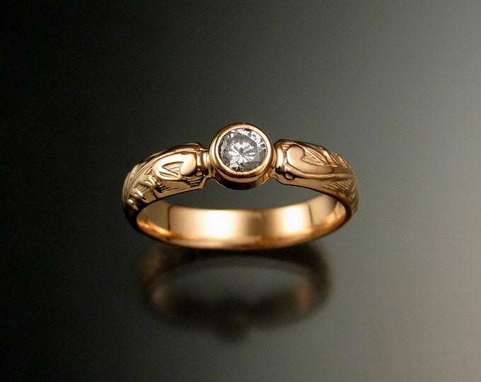 White Sapphire Wedding ring 14k rose Gold Victorian bezel set Diamond substitute ring made to order in your size