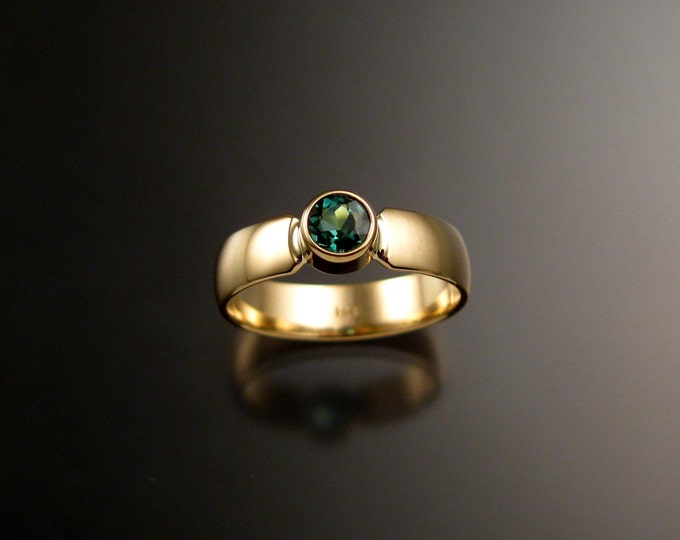 Green Tourmaline Emerald substitute Wedding ring 14k Yellow Gold bezel set ring made to order in your size
