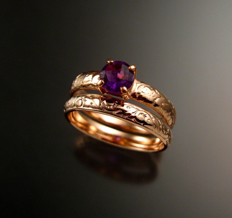amethyst wedding set 14k rose gold two ring set handmade to order