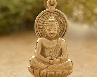 Buddha Pendant. Large - C869, Choose From Sterling Silver or Natural Bronze