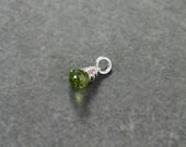 August Birthstone Peridot Pendant Charm, Sterling Silver Wire Wrapped Gemstone - Add a Dangle