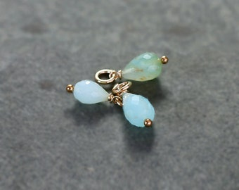 Peruvian Opal Charm, 14K Gold Filled Wire Wrapped Faceted Briolette Stone Accent - Add a Dangle