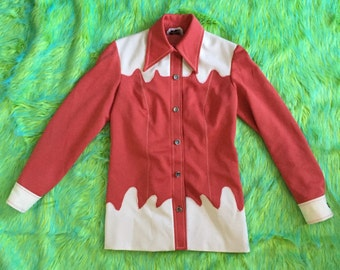 Amazing 70s button down rust and cream psychedelic western shirt