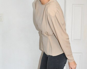 "1980s Designer ""GLANCES"" Beige Pearl Dramatic Blouse Shirt"