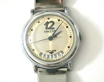 Russian Watch Mens RAKETA With Calendar and Metal Bracelet Working Mechanical Silver Tone 1970s from Soviet Union USSR
